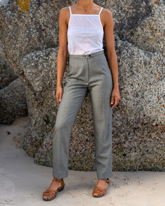 Smoky Grey High Waist Wool Trousers