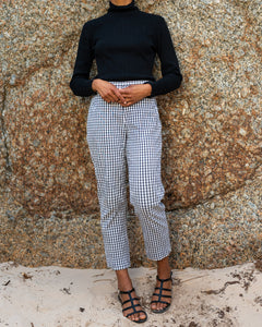 Grey Gingham Cigarette Trousers
