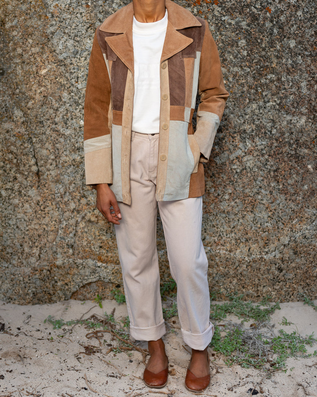 Tan Suede Colour Block Jacket