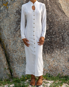 Ivory Flecked Button Down Dress