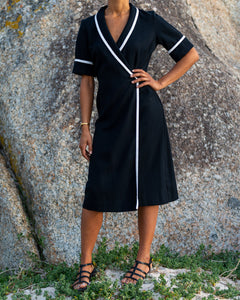 Black High Contrast Striped Dress