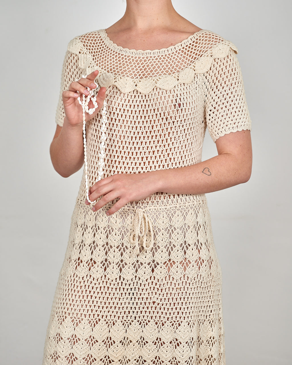 Cream Crochet Seaside Cotton Dress