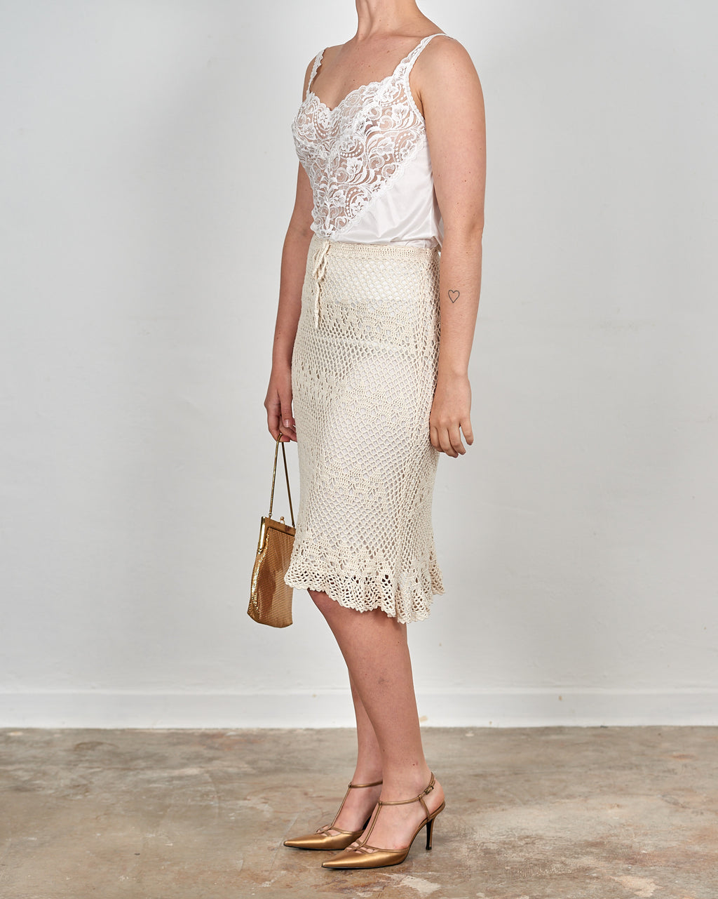 Cream Crochet Pencil Skirt