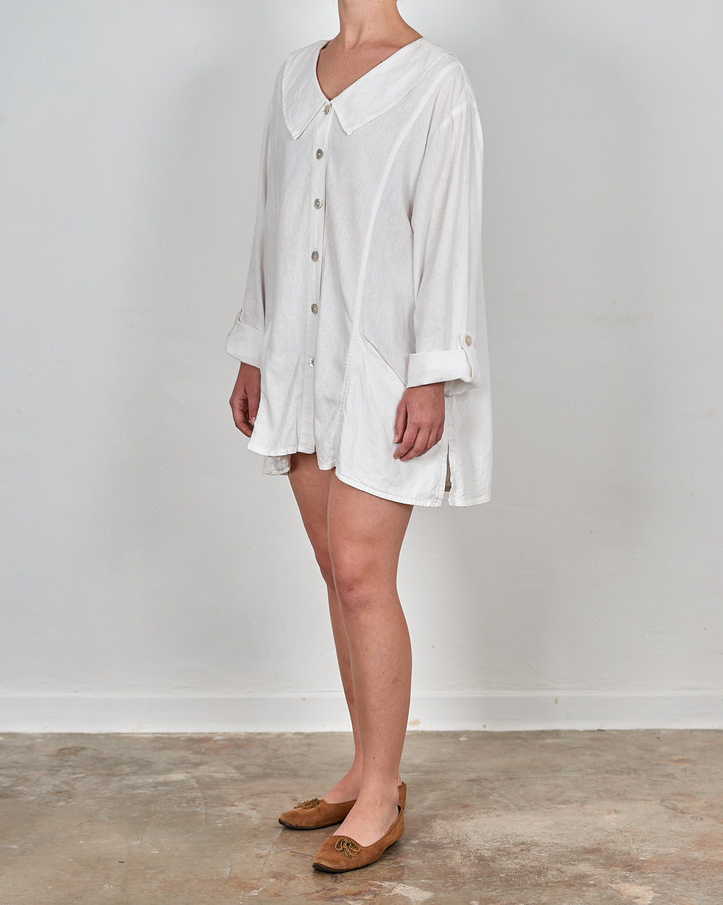 White Linen Shirt Dress