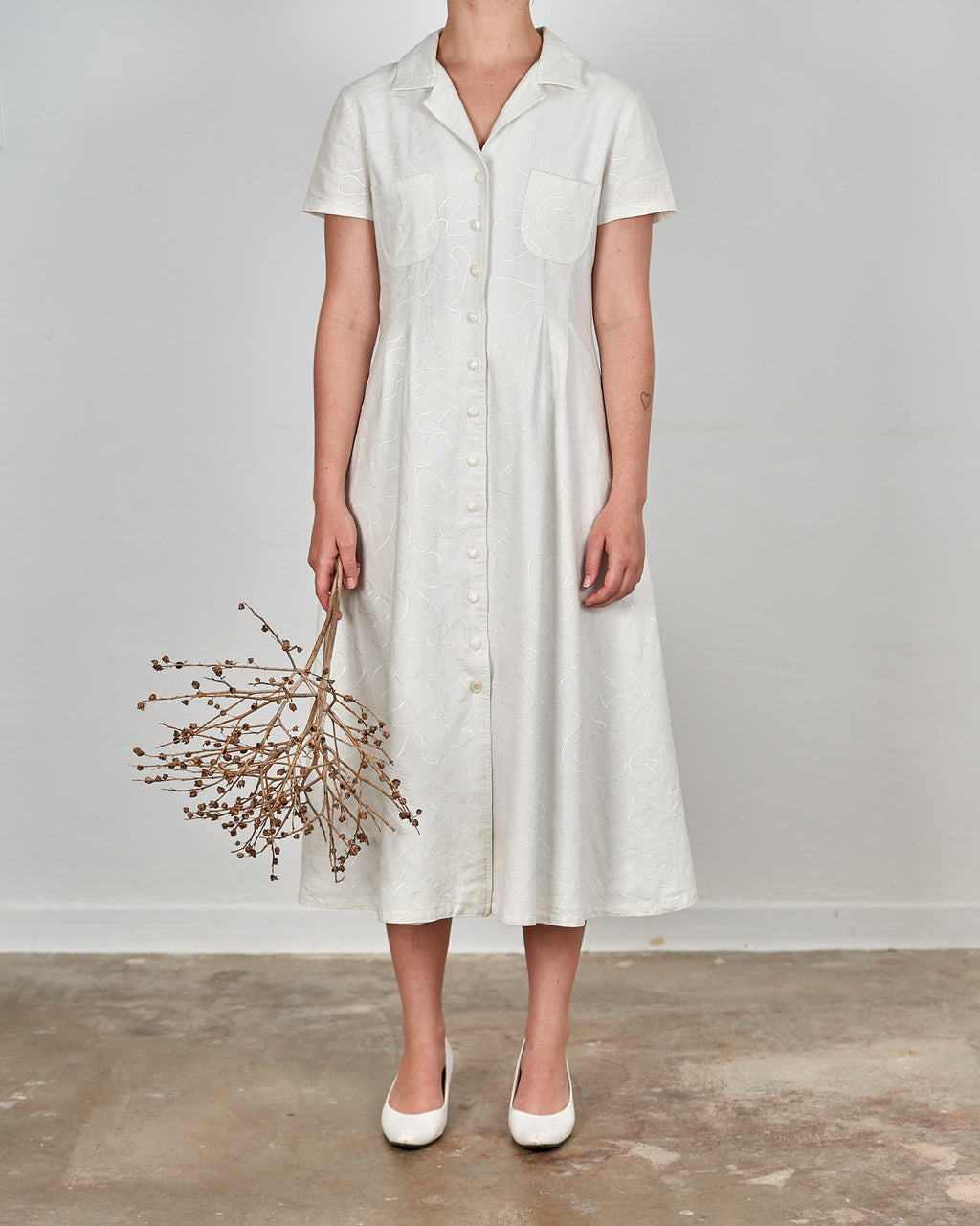 White Embroidered A-Line Midi Dress