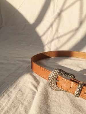 Tan Brown Classic Cowgirl Leather Belt