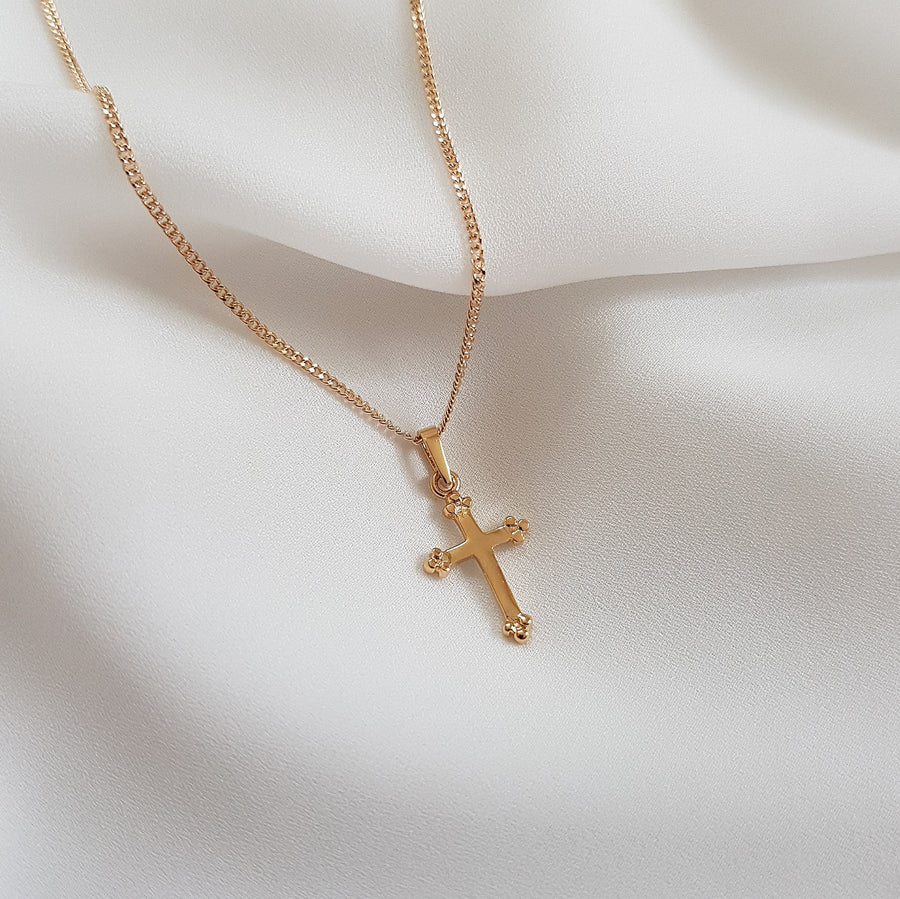 cross necklace dolce cross necklace gold plated - azaliah jewelry 1