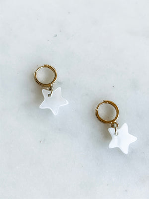 Pearl Star Huggies, Tiny Hoop Earrings