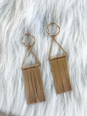 Oro - Gold Fringe Earrings - The Pretty Eclectic