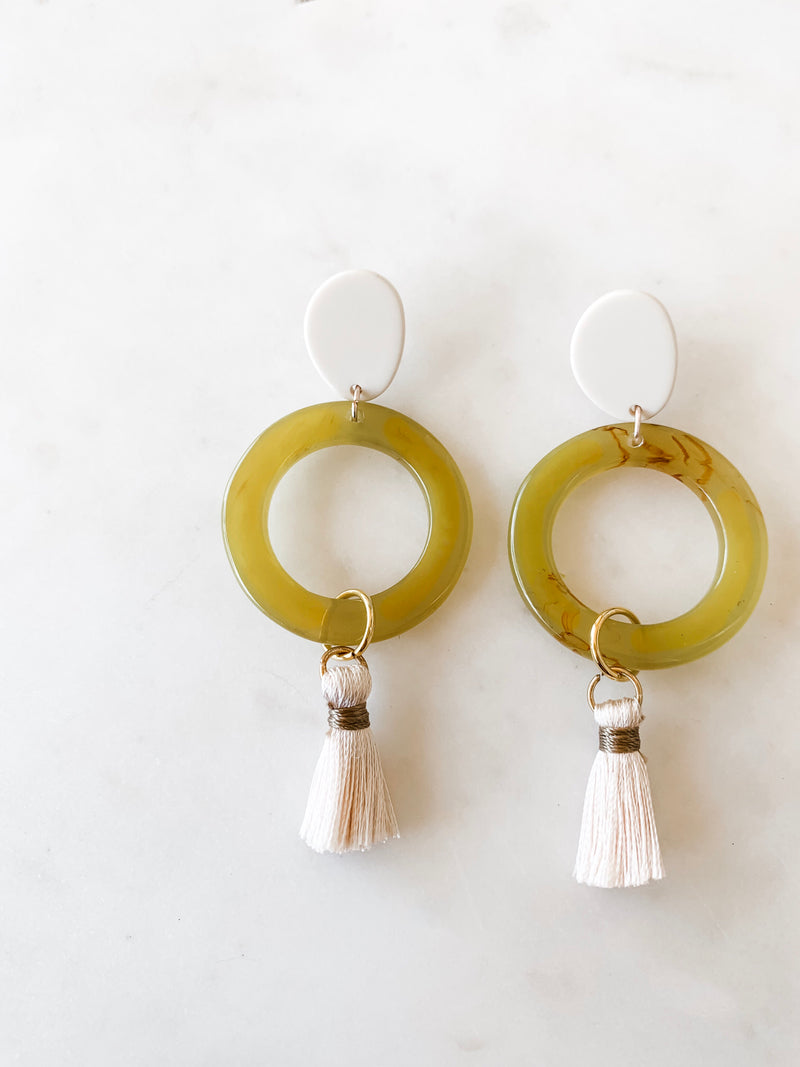 abstract acrylic tassel earrings