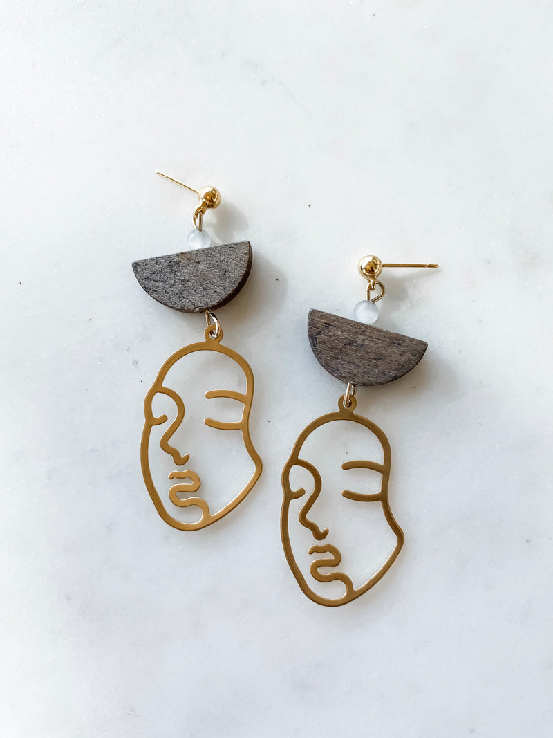 Wood and Gold Abstract Face Earrings