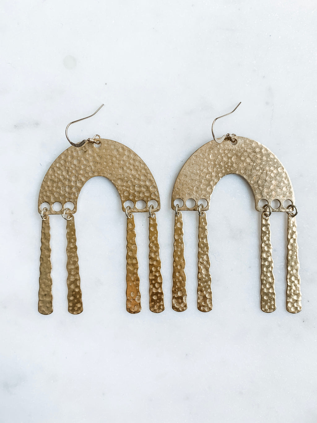 Hammered Brass Arch Earrings