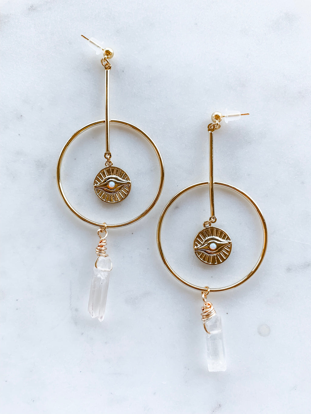 Quartz Crystal Hoop Earrings
