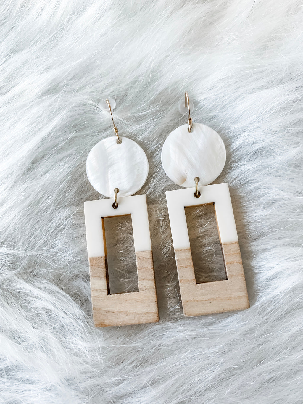 Mother of Pearl, Wooden Earrings