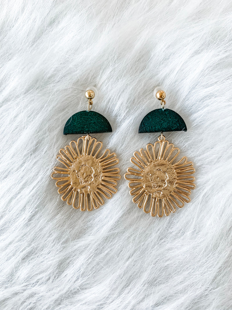 Gold Sunflower Earrings