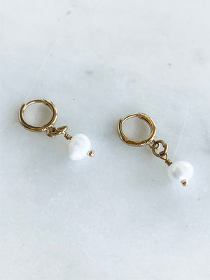 Tiny Pearl Huggies, Mini Hoop Earrings