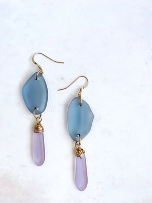 Purple Sea Glass Earrings