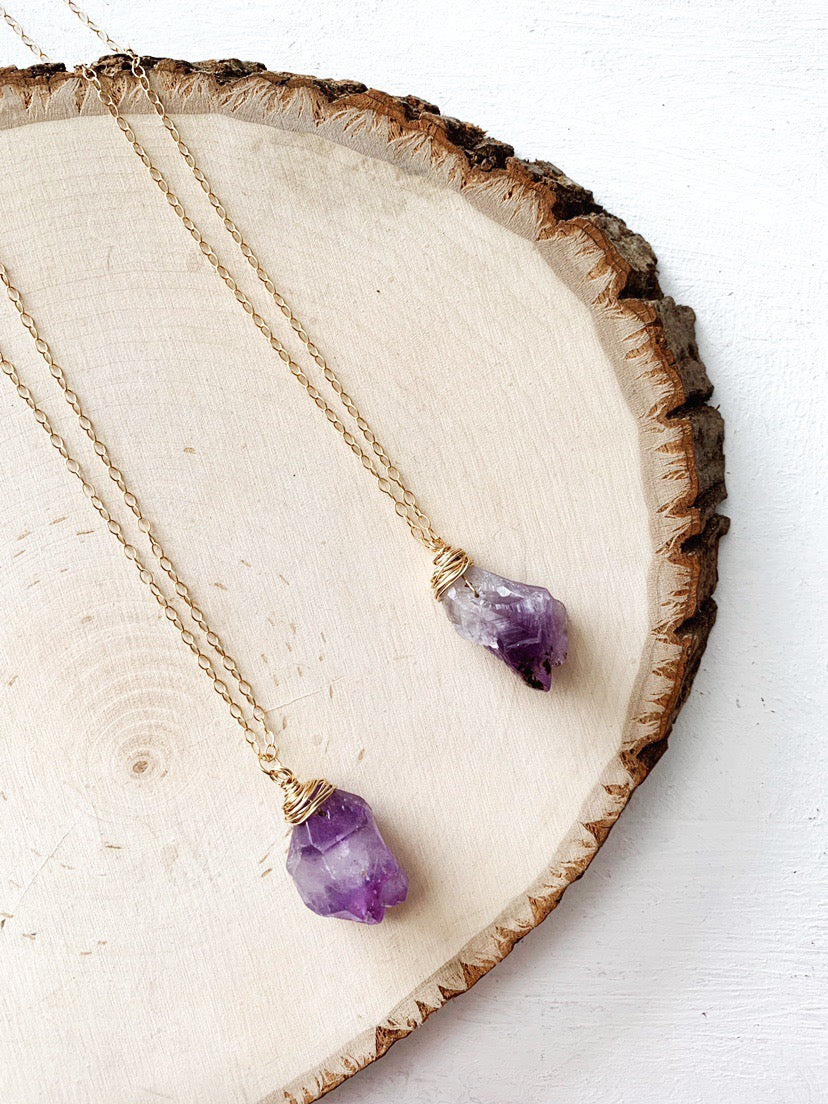 Rough Cut Amethyst Necklace - The Pretty Eclectic