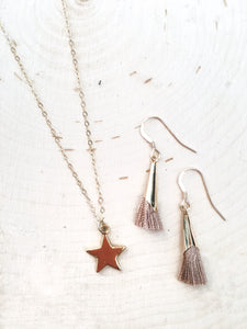 Star Charm Necklace, Tassel Earrings