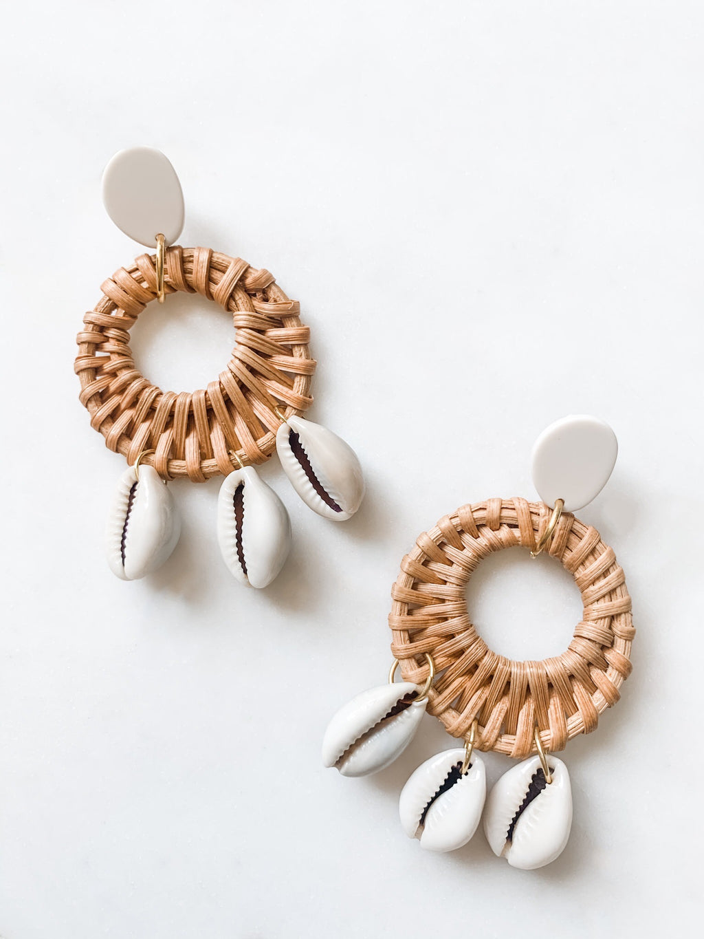 Cowrie Shell Rattan Earrings - The Pretty Eclectic