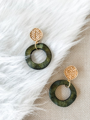 Green Rattan Hoop Earrings