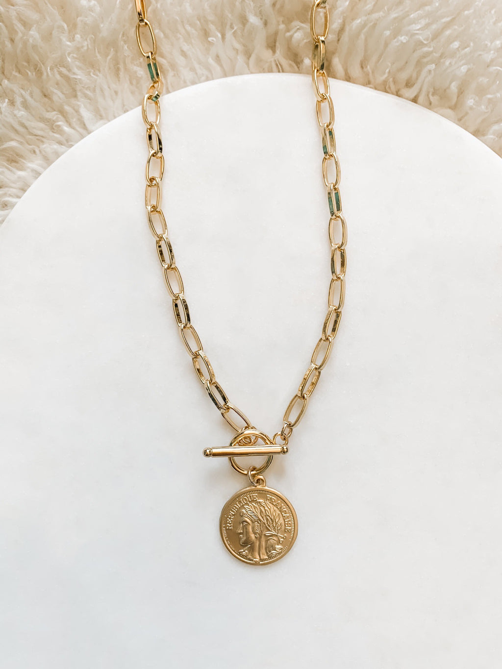 Gold Filled French Coin Necklace - The Pretty Eclectic