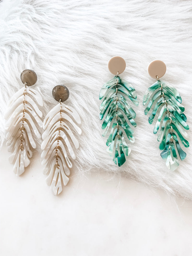 Green and White Acrylic Leaf Earrings