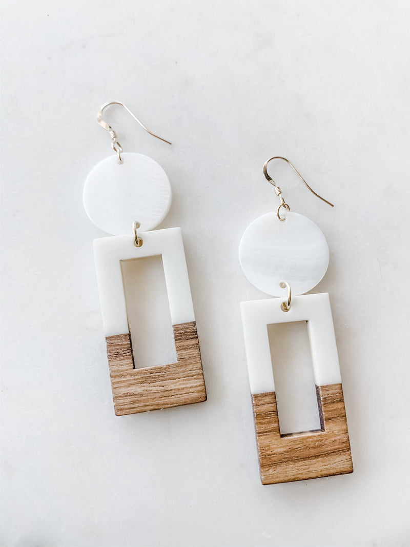 Wood and White Resin with Pearl Earrings