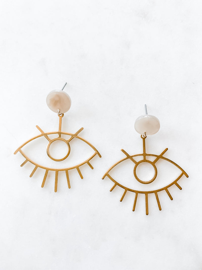 Brass Abstract Eye Earrings