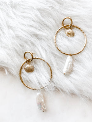 Capri - Pearl Hoop Earrings - The Pretty Eclectic