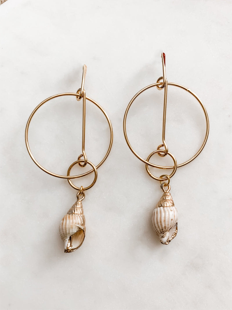 Sereia - Gold Seashell Earrings - The Pretty Eclectic