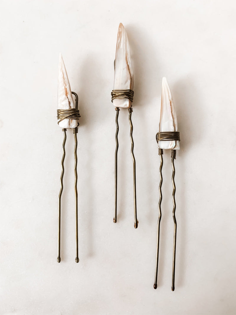 Pearl Shell Hair Pins - The Pretty Eclectic