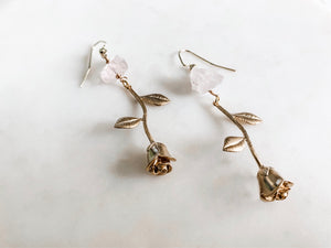 Gilded Rose - Quartz Earrings - The Pretty Eclectic