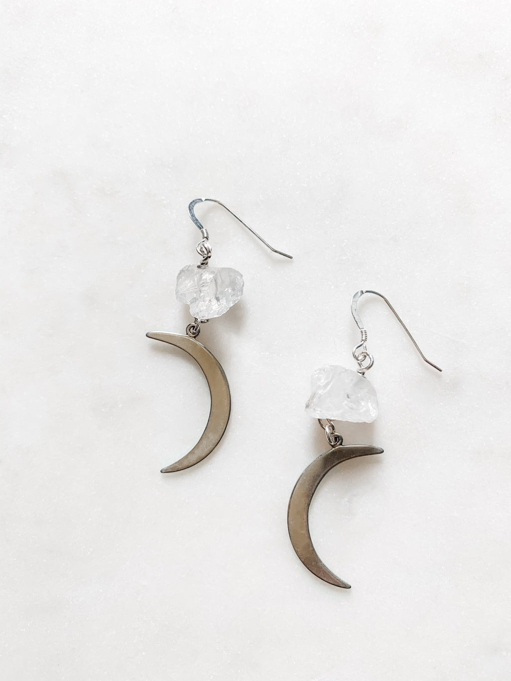 Celine - Quartz Crescent Moon Earrings - The Pretty Eclectic