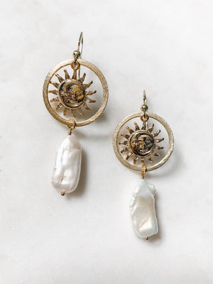 Sun and Sea - Pearl Earrings - The Pretty Eclectic