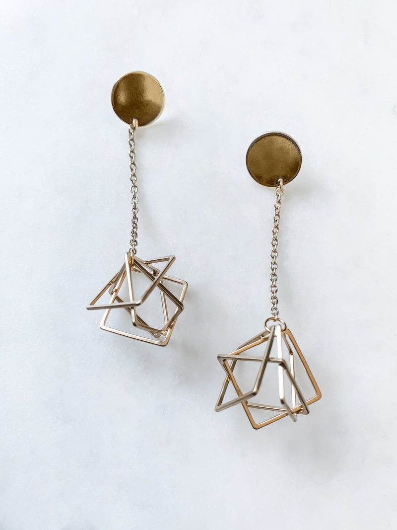 Intertwined - Gold Geometric Earrings - The Pretty Eclectic