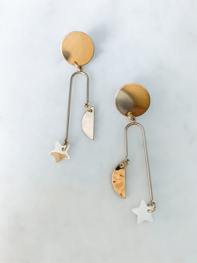 Celeste - Star Pearl Earrings - The Pretty Eclectic