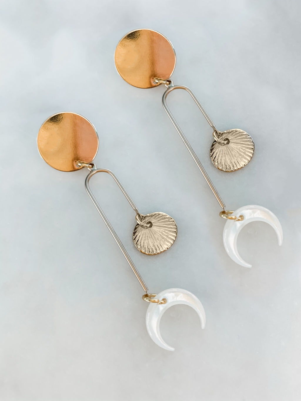 Luna - Pearl Moon and Shell Earrings - The Pretty Eclectic