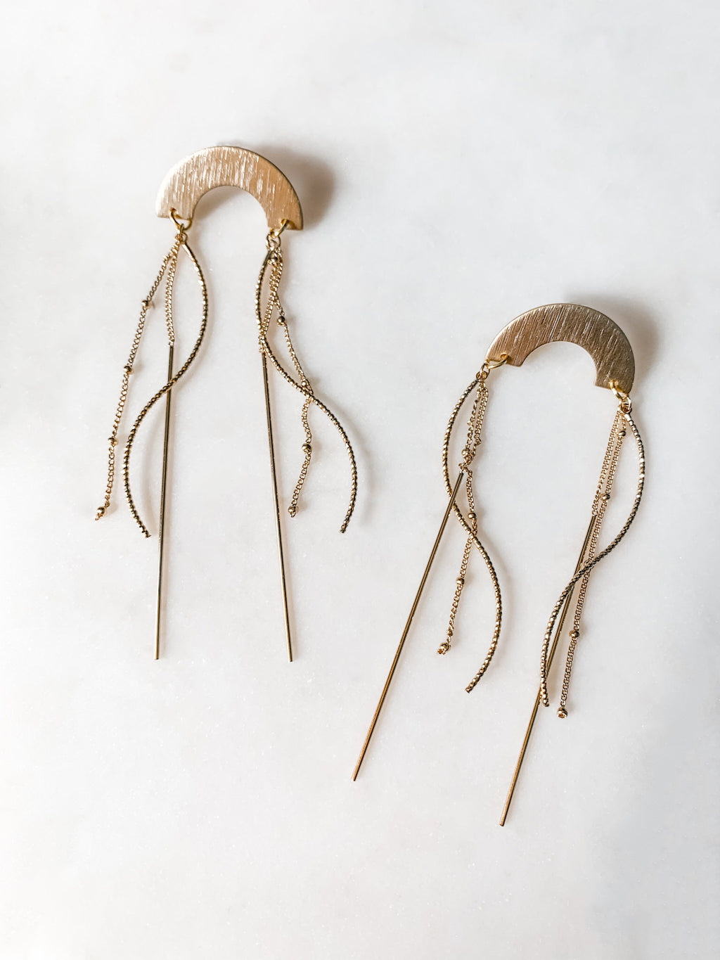Jellyfish - Chain Tassel Arch Earrings - The Pretty Eclectic