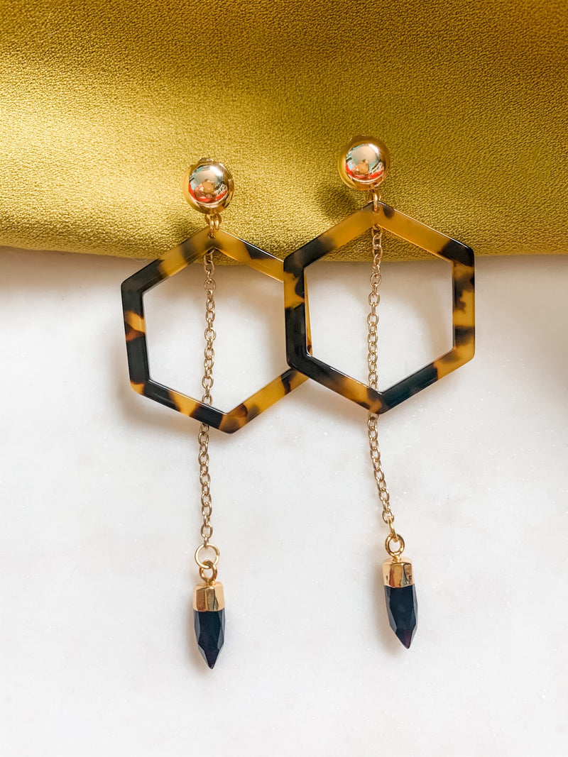 Hexagon Tortoise Shell Earrings - The Pretty Eclectic