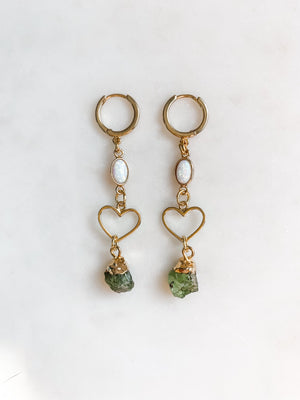 I Heart U - Opal and Stone Earrings - The Pretty Eclectic