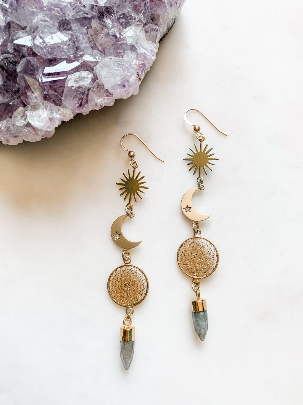 Nightfall - Labradorite Moon Drop Earrings - The Pretty Eclectic