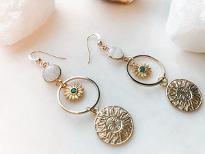 Emerald Sun Earrings - The Pretty Eclectic