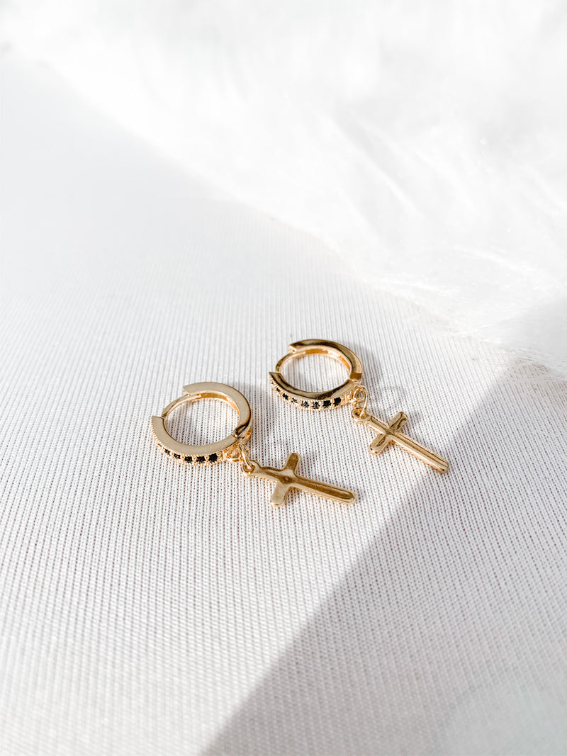 Onyx Cross Earrings (Buy 1, Get 1 50% Off!) - The Pretty Eclectic