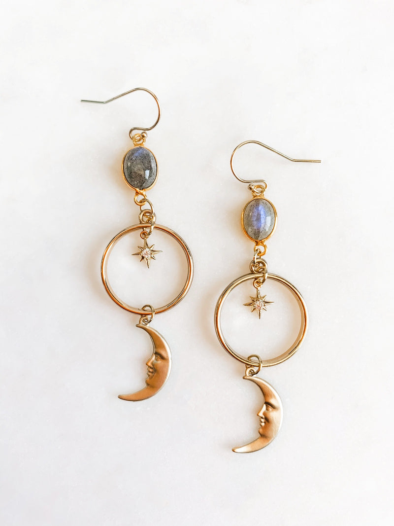 Midnight Moon - Labradorite Earrings