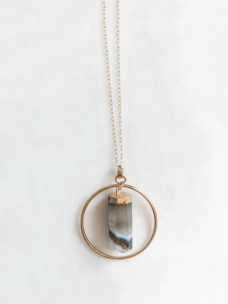 Quartz Hoop Necklace - The Pretty Eclectic