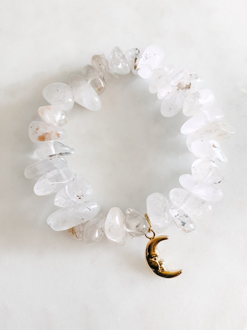 Quartz Crystal Moon Bracelet - The Pretty Eclectic