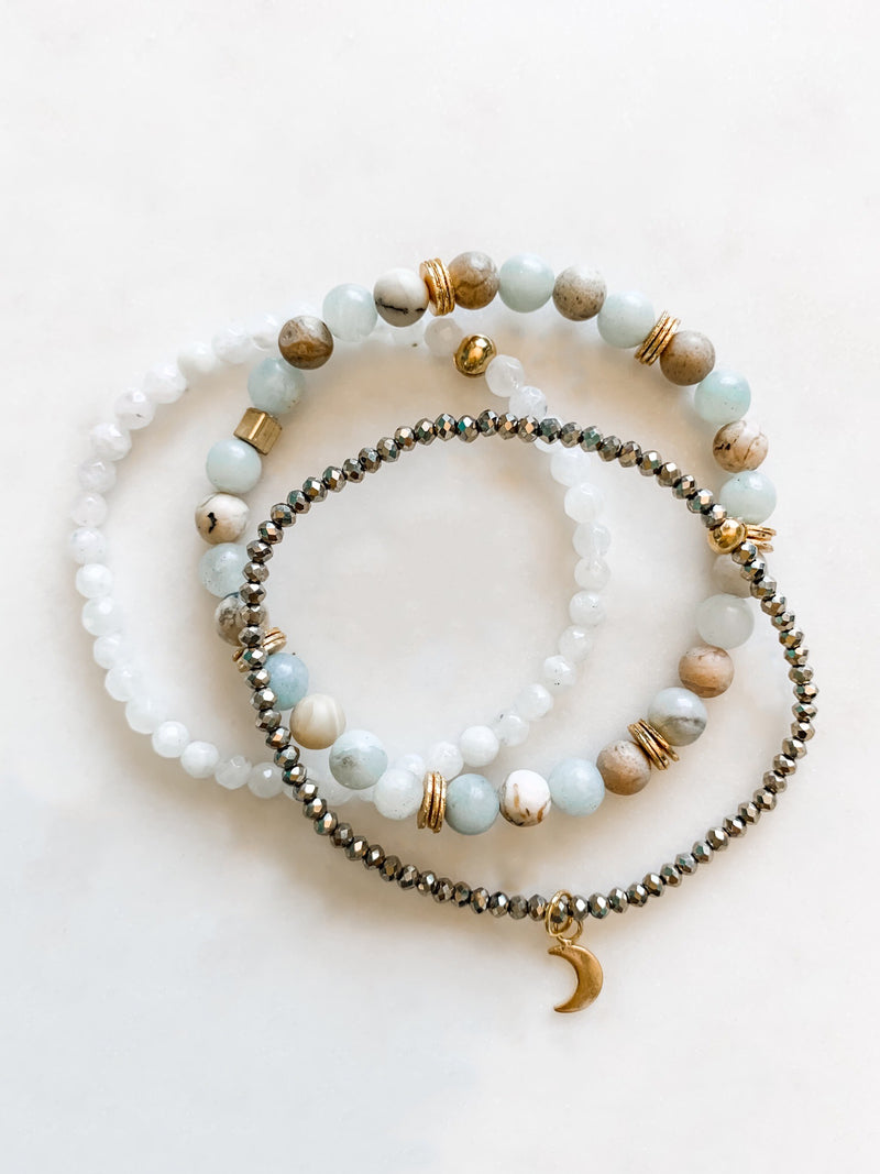 Aquamarine Bracelet Set - The Pretty Eclectic