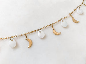 Moon and Pearl Anklet - The Pretty Eclectic