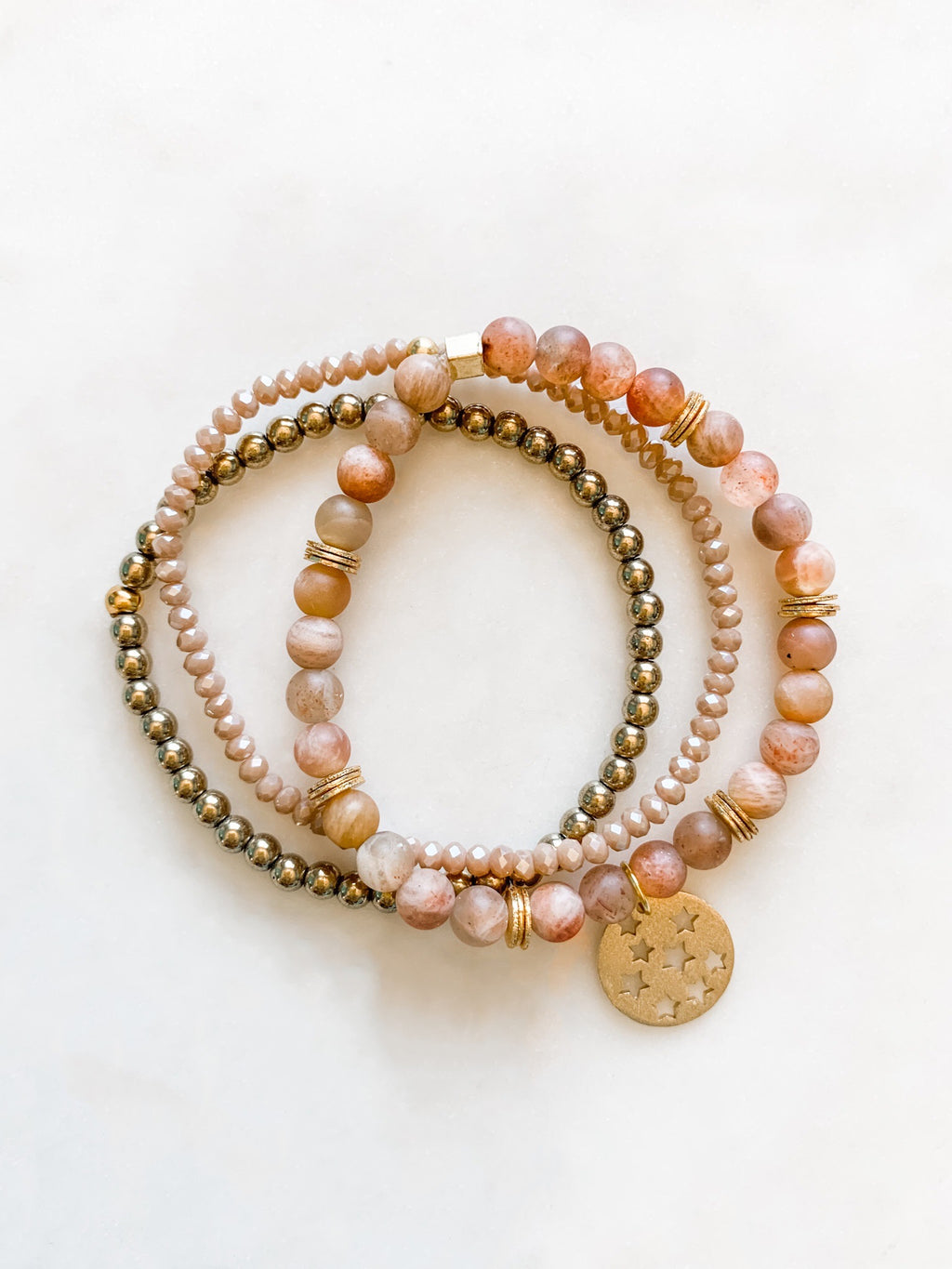 Pink Moonstone Bracelet Set - The Pretty Eclectic